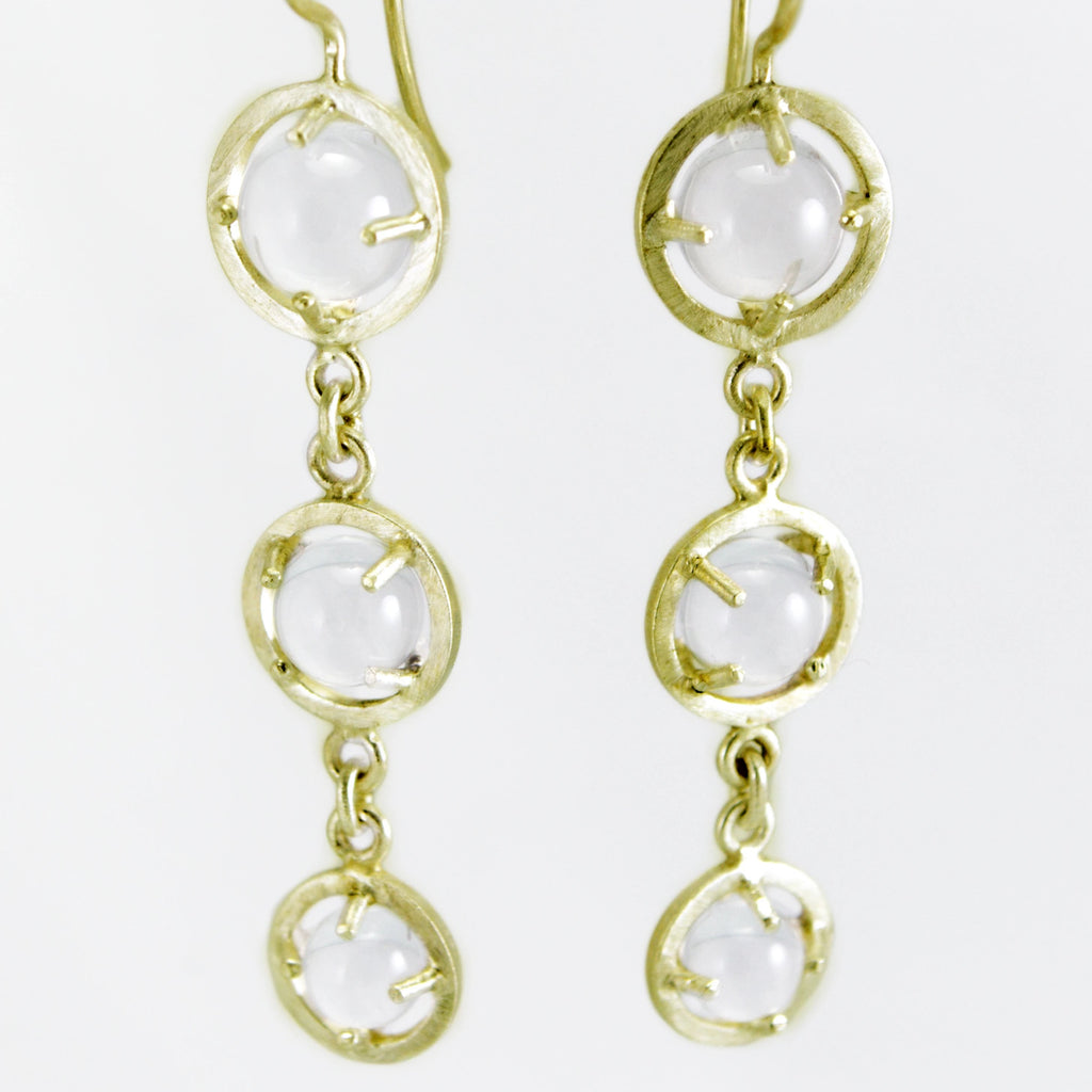 Caged 3 Sphere Chandelier Earrings - Gold