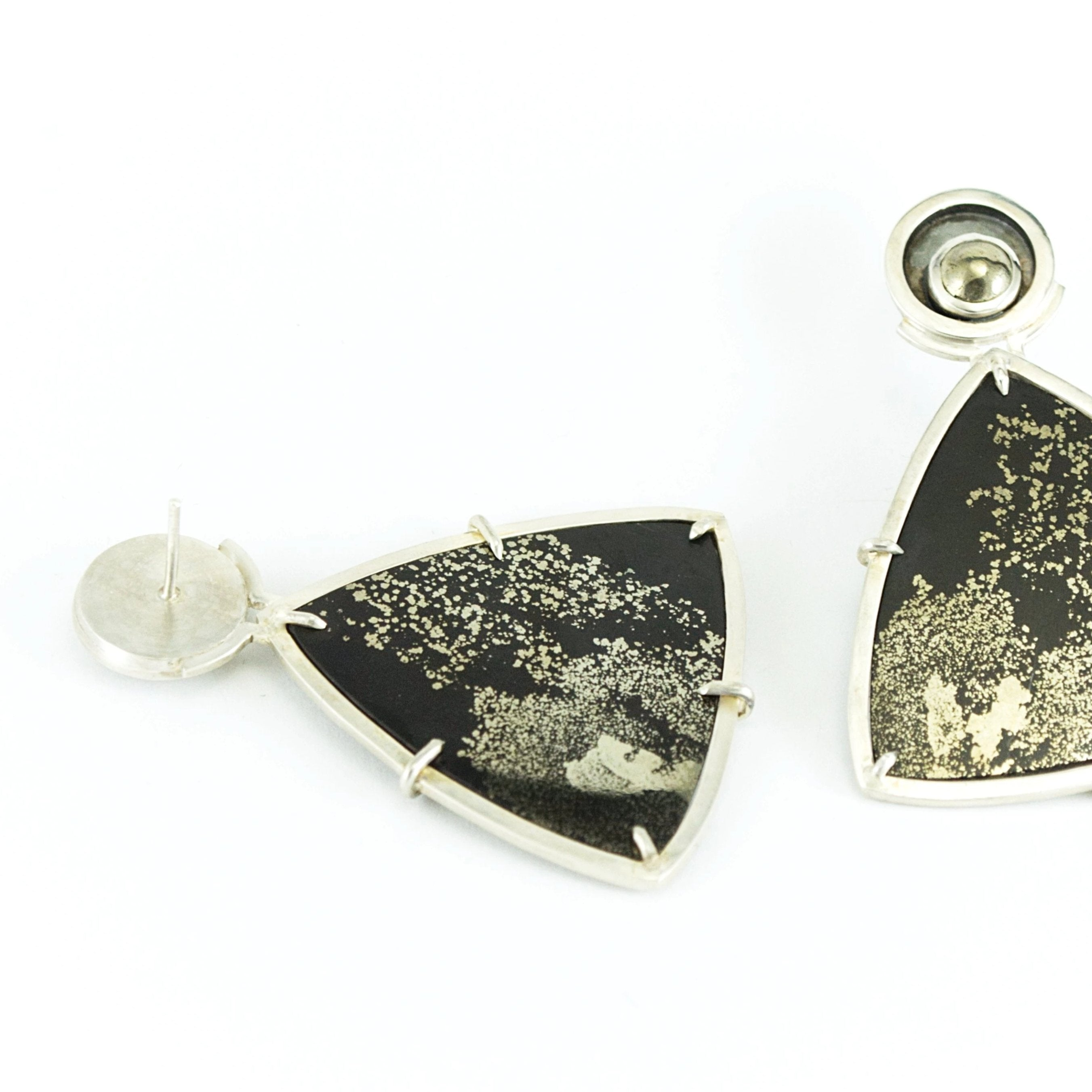 Pyrite in Slate Earrings #1