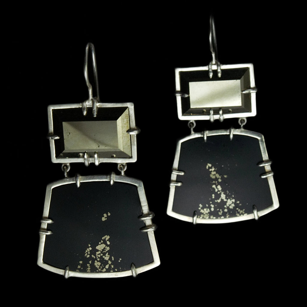 Pyrite in Slate Earrings #4