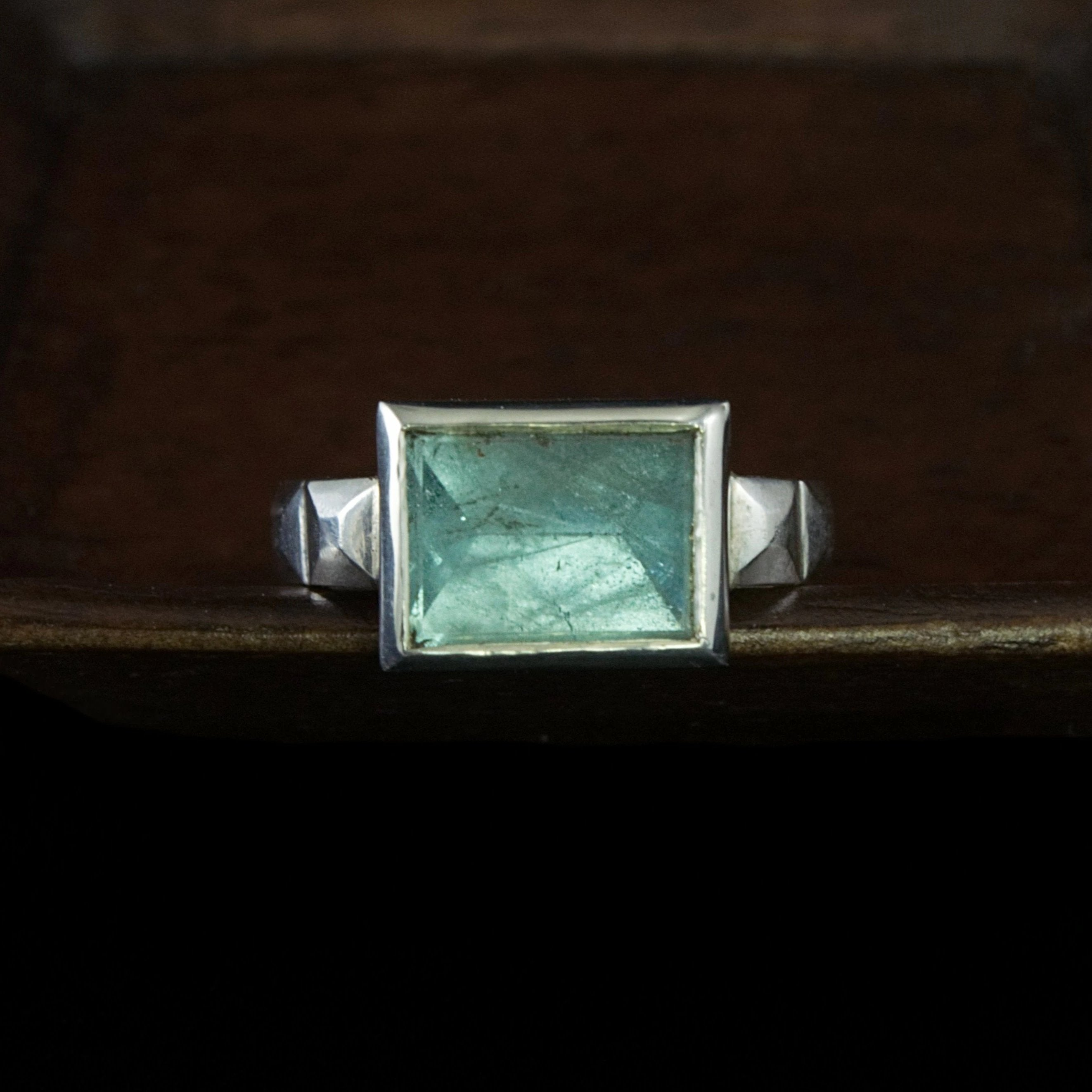 art deco sterling aquamarine ring