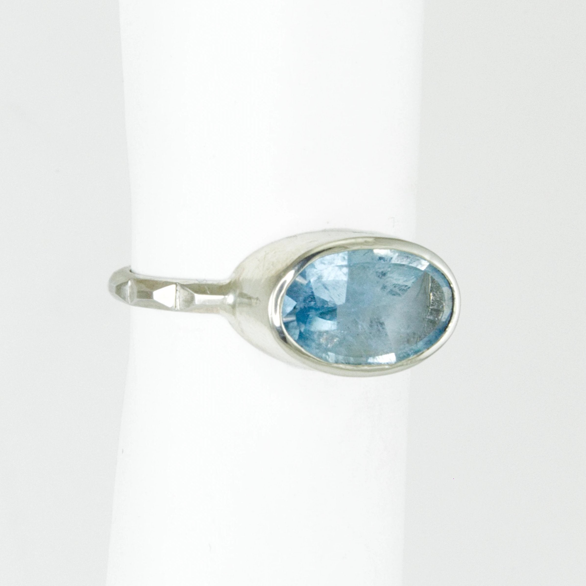 Aquamarine Oval Frusta Ring - Size 6.5