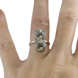 Two Stone Caged Sphere Ring