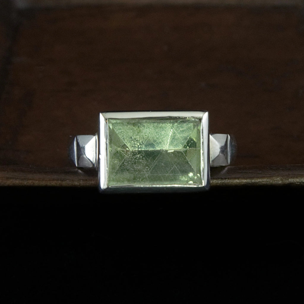 green beryl art deco sterling ring