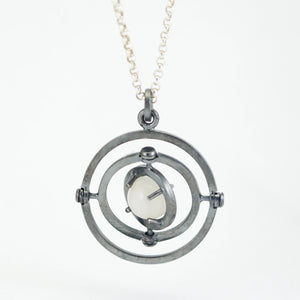 Caged Moonstone Armillary Pendant