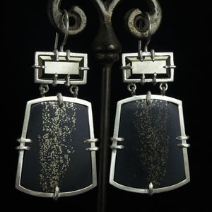 Pyrite in Slate Earrings #3
