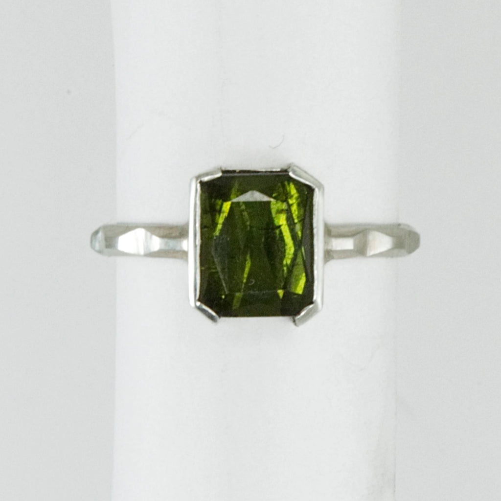 Green Tourmaline Skinny Frusta Ring - Bracket Set - Size 6.5