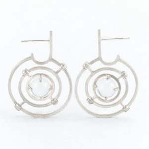 Caged Quartz Sphere Armillary Hoop Earrings