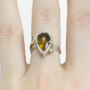 Amber and Green Tourmaline Ring - Size 7
