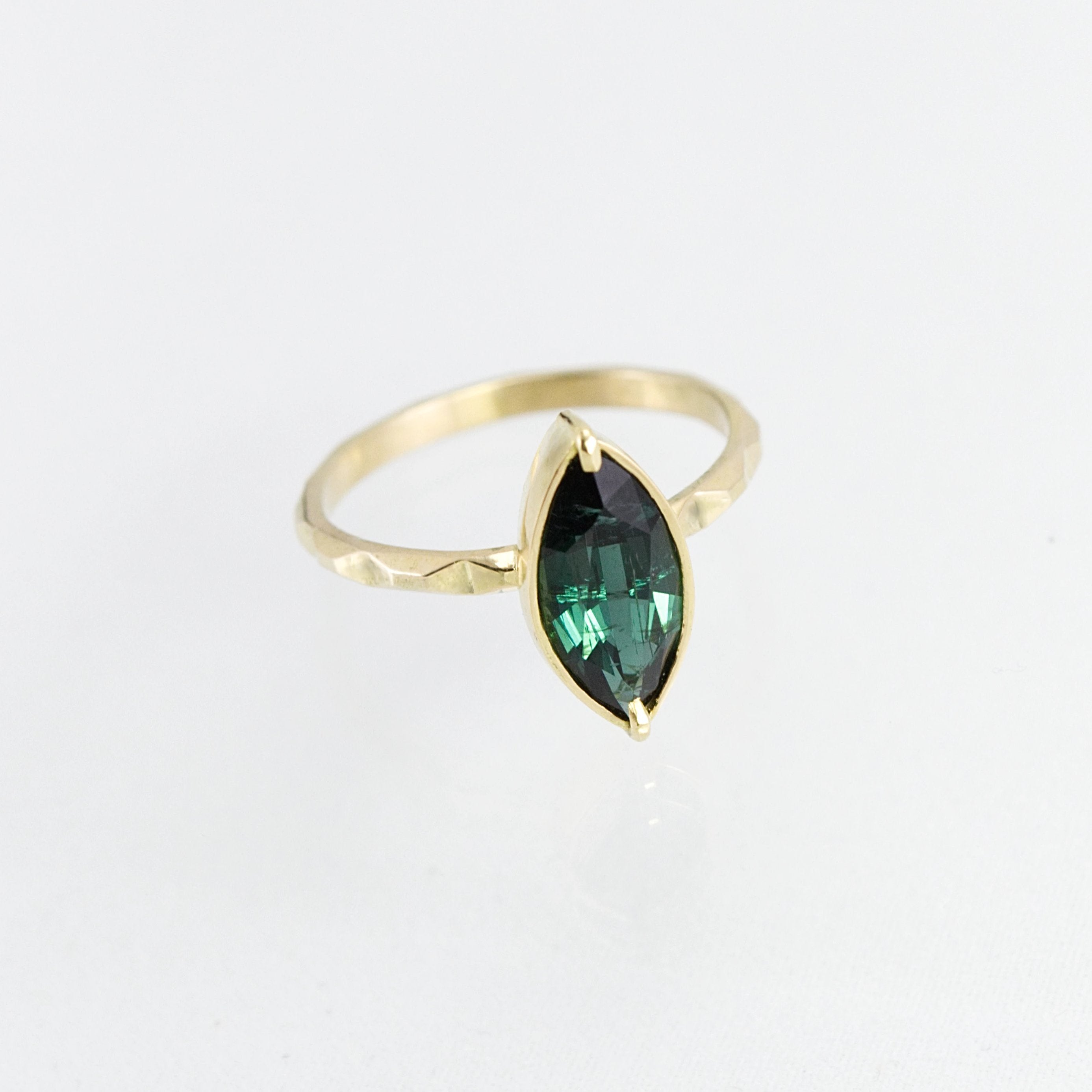 Deco Tourmaline Skinny Tile Ring - 18k - Size 7 - Phetteplace Studio