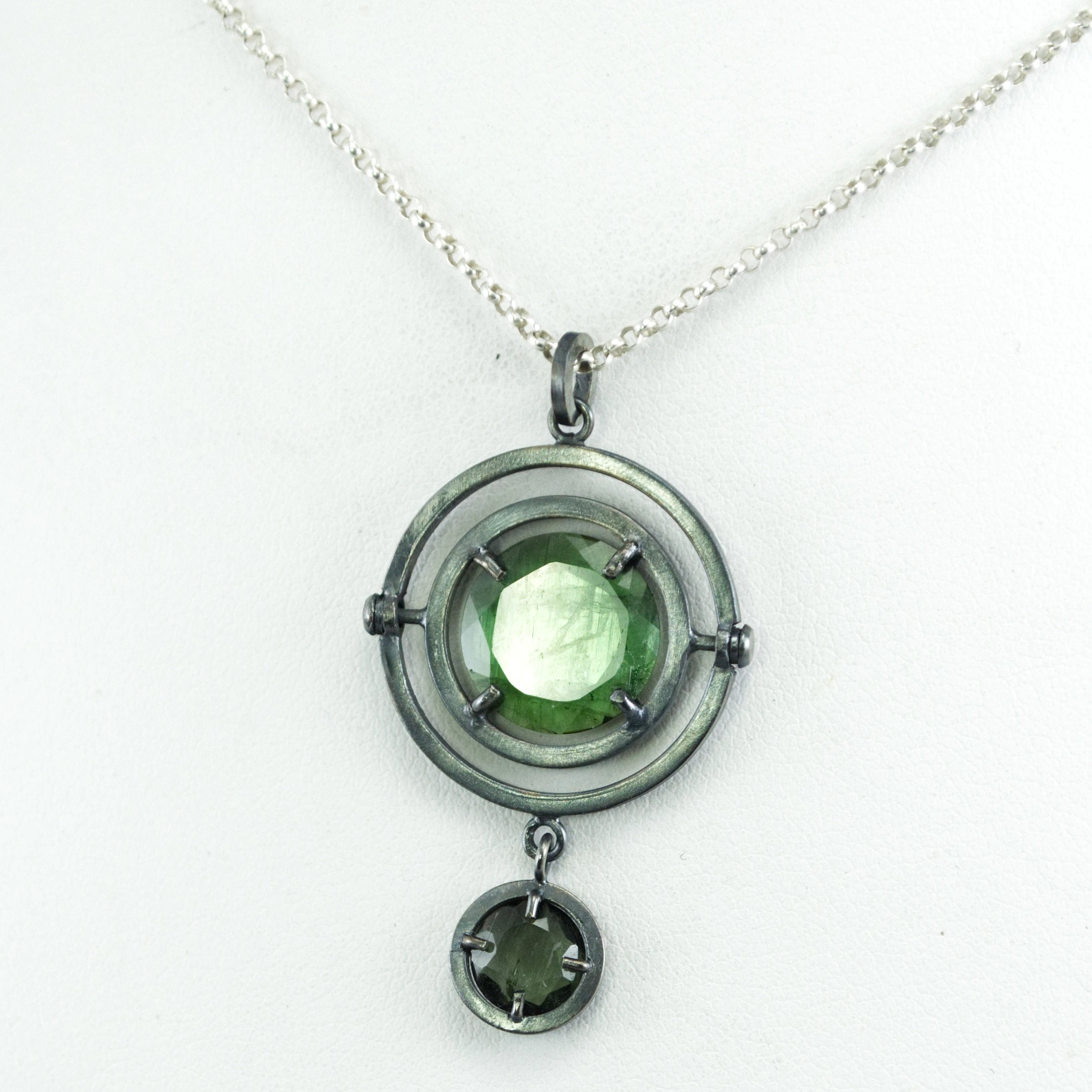kinetic green tourmaline futuristic necklace
