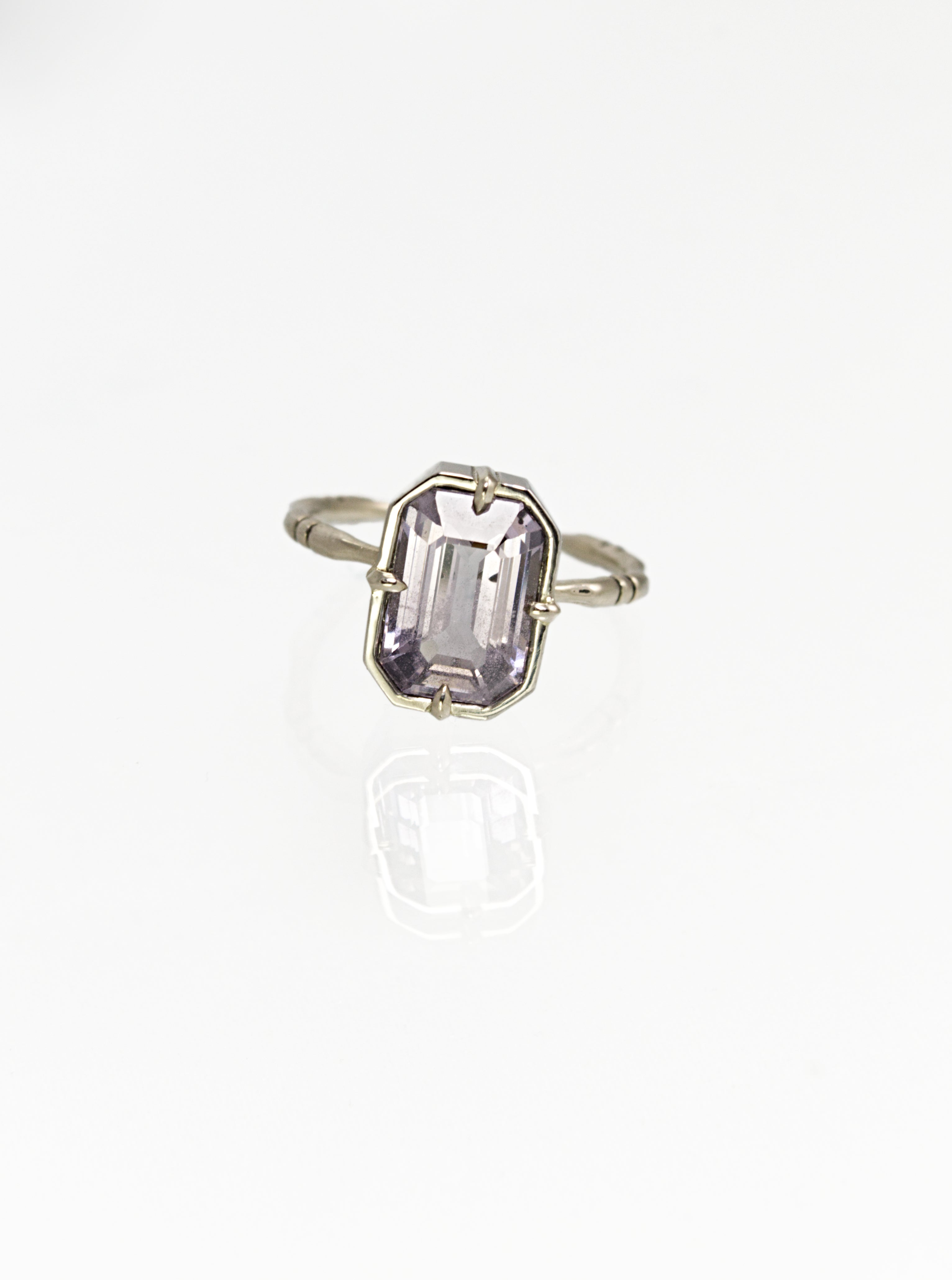 Lavender Spinel Bone Ring - 14k Palladium White Gold