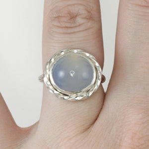 Chalcedony High Dome Twist Ring - Size 6.5
