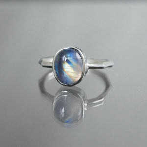 Rainbow Moonstone Oval Panel Ring - Size 7.25