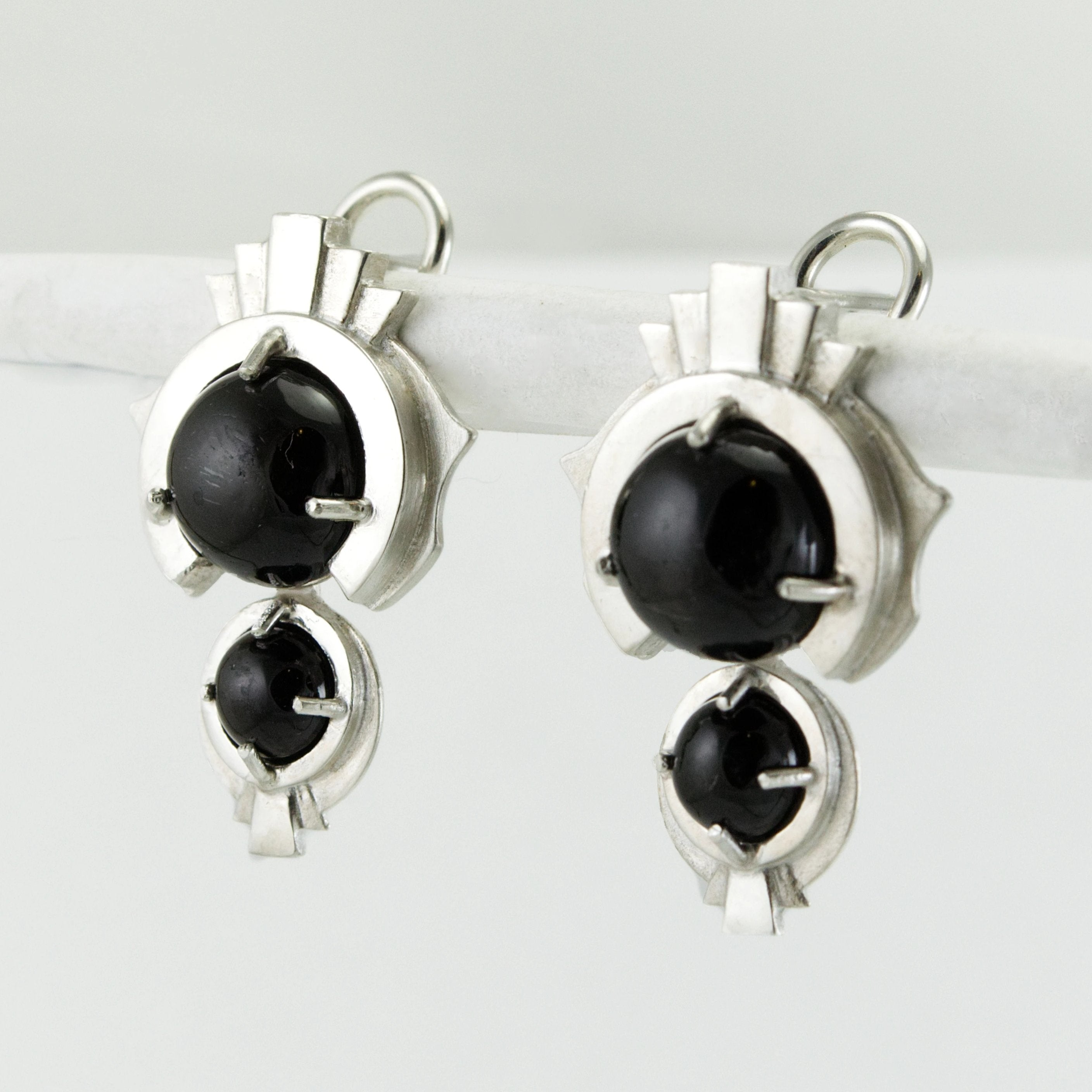 Black Star Diopside Pendulum Earrings in Sterling Silver