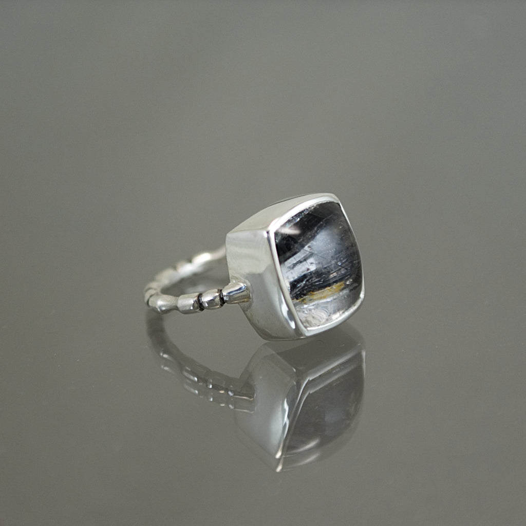 Tourmaline in Quartz Bone Ring - Size 6