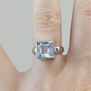 Square Aquamarine Frusta Ring - Size 6.5