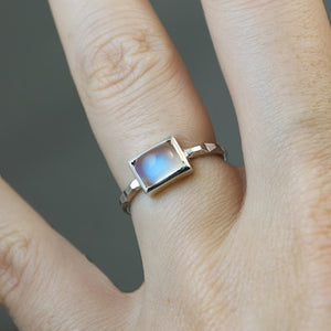 Rainbow Moonstone Frusta Ring - Size 6