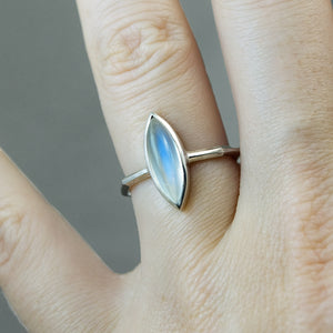 Rainbow Moonstone Marquise Panel Ring - Size 6.75