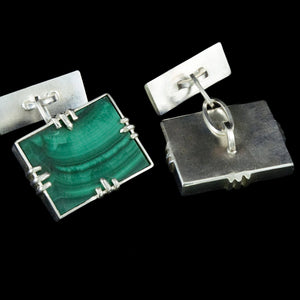 Art Deco malachite cufflinks