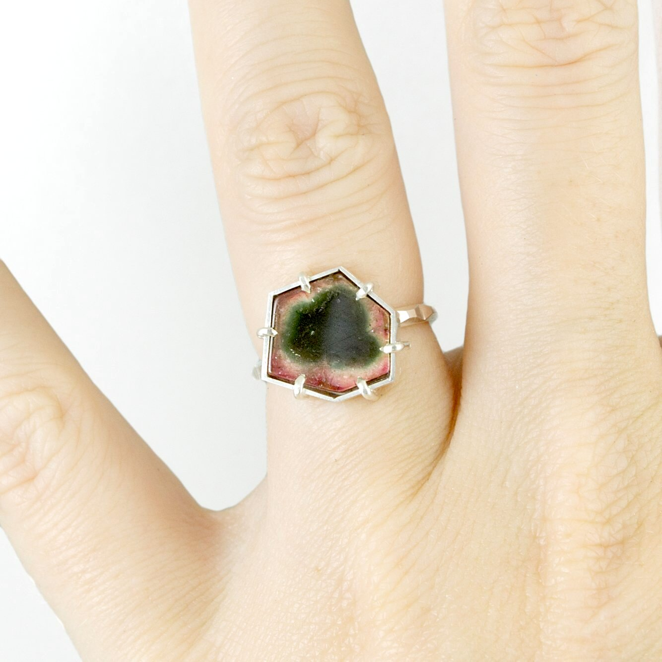 Watermelon Tourmaline Frusta Ring - Size 6