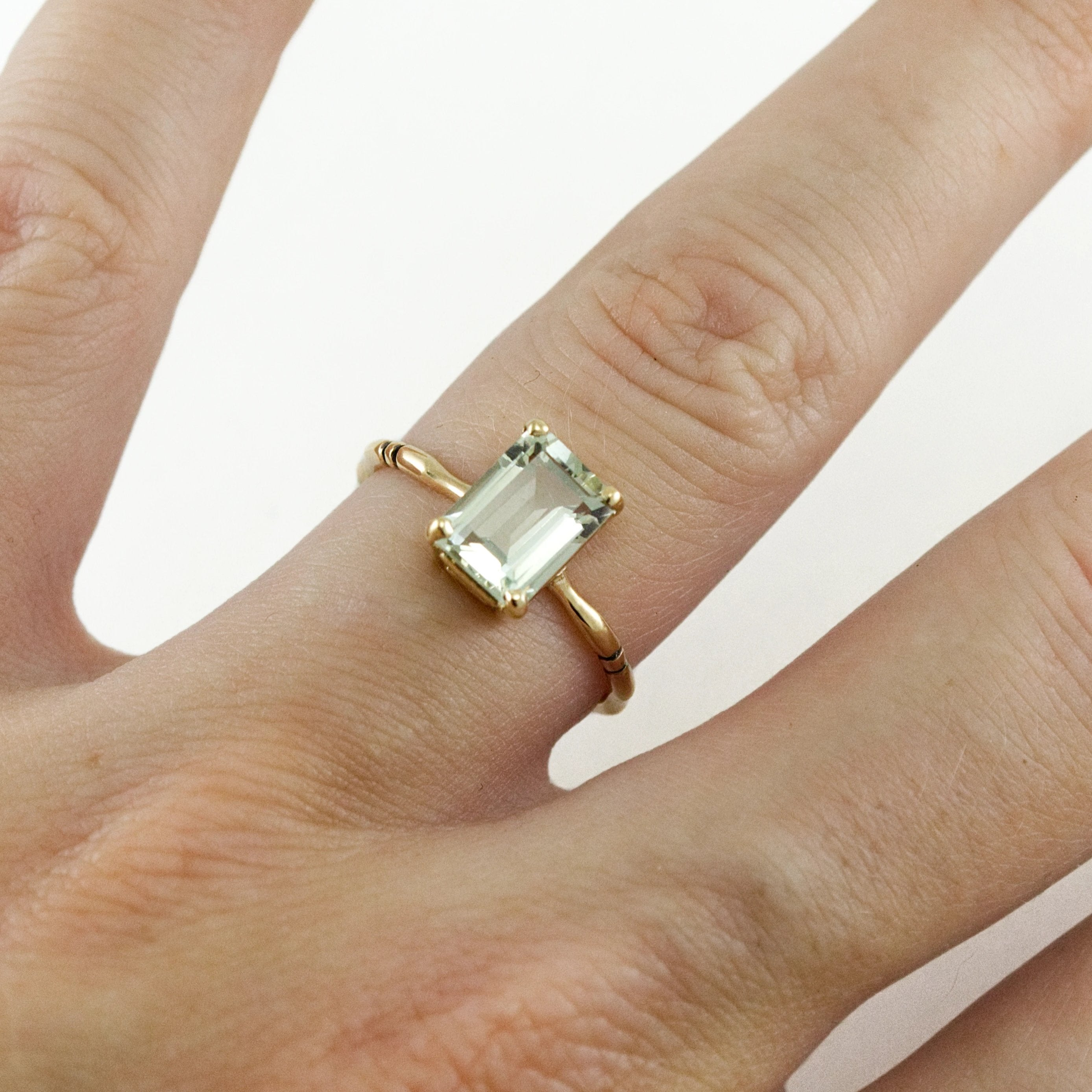 Prasiolite Bone Ring - Octagon Cut