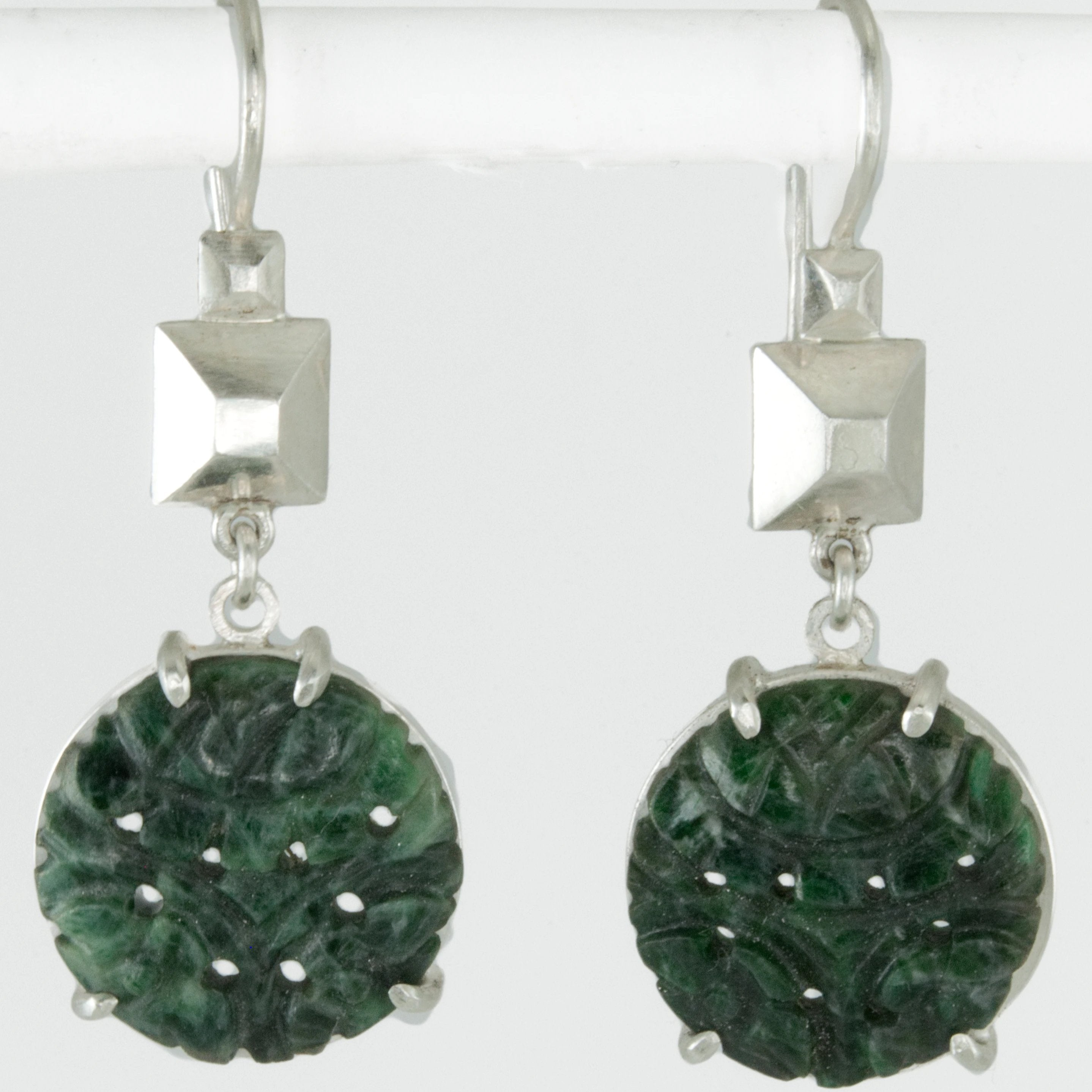 Vintage Carved Jade Frusta Earrings