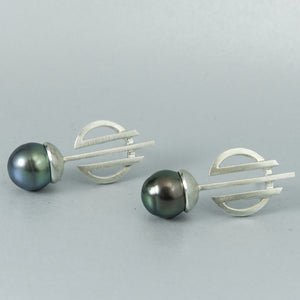 Deco Black Tahitian Pearl Earrings