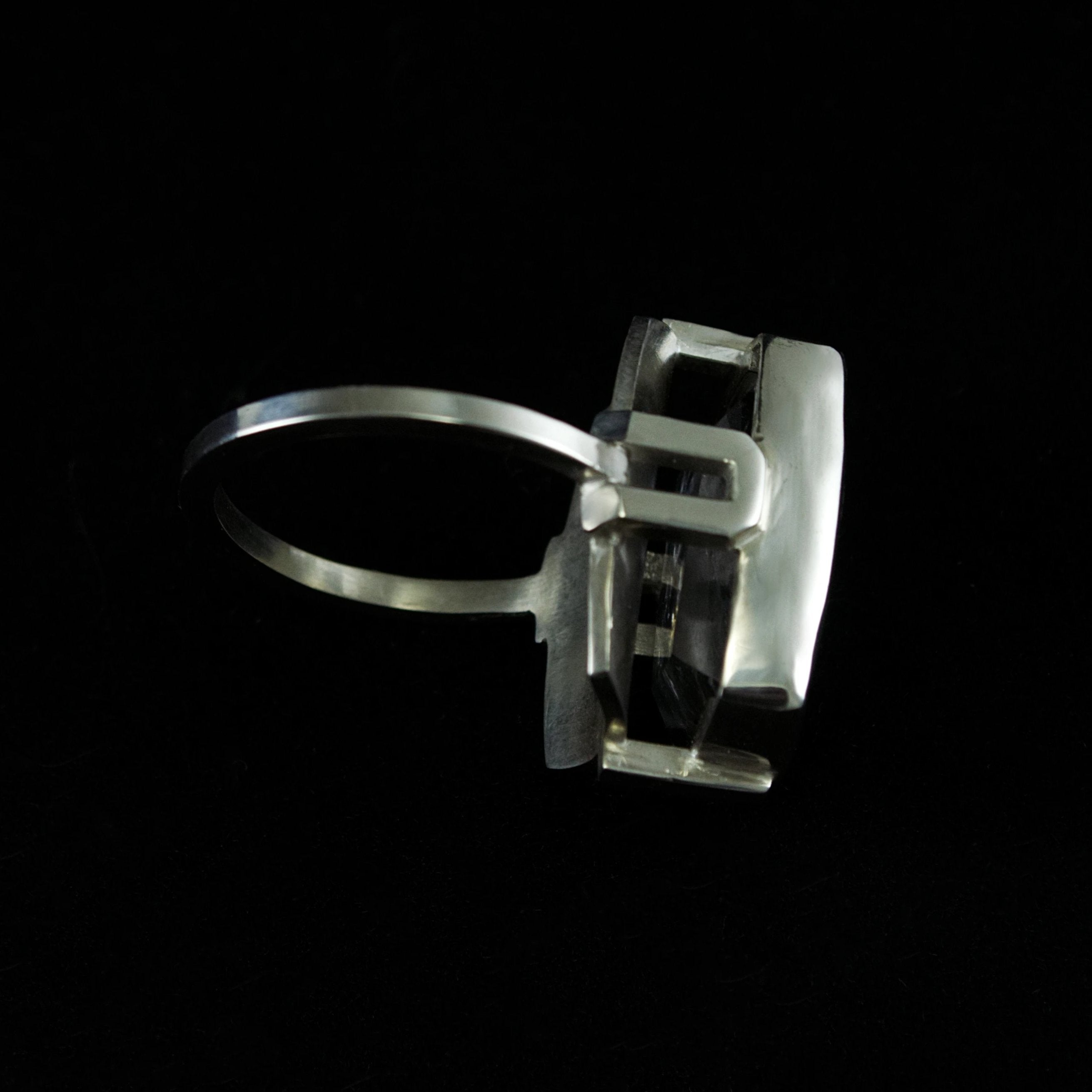 Dendritic Quartz Scaffold Ring - Size 7