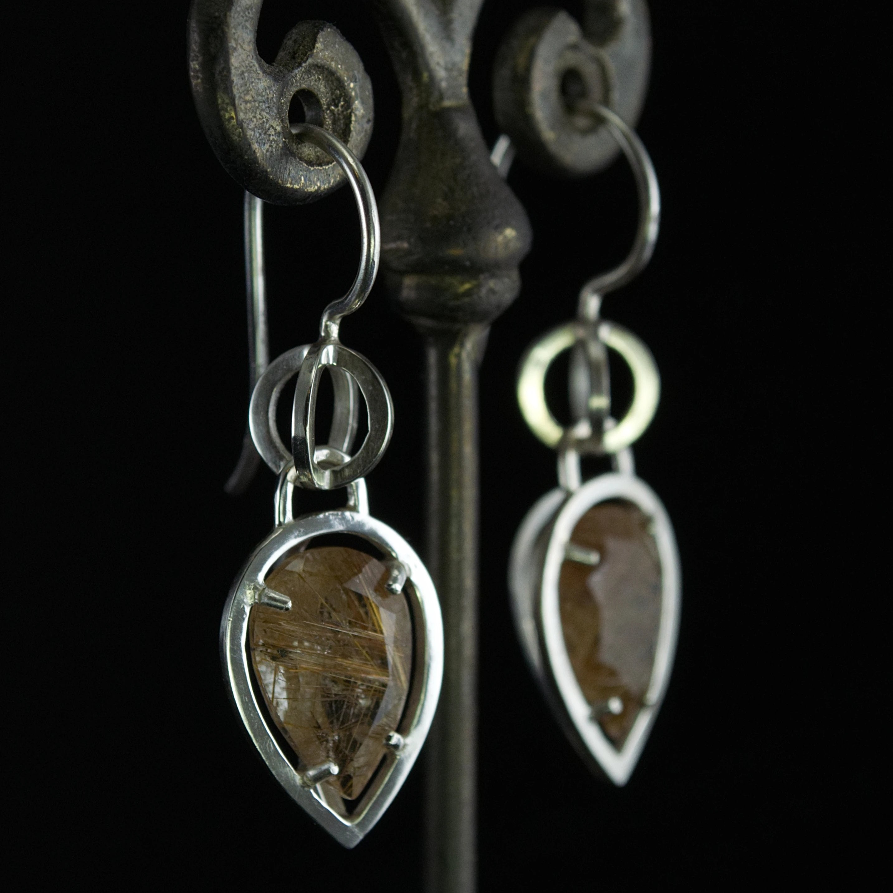 Rutilated Quartz Globe Earrings