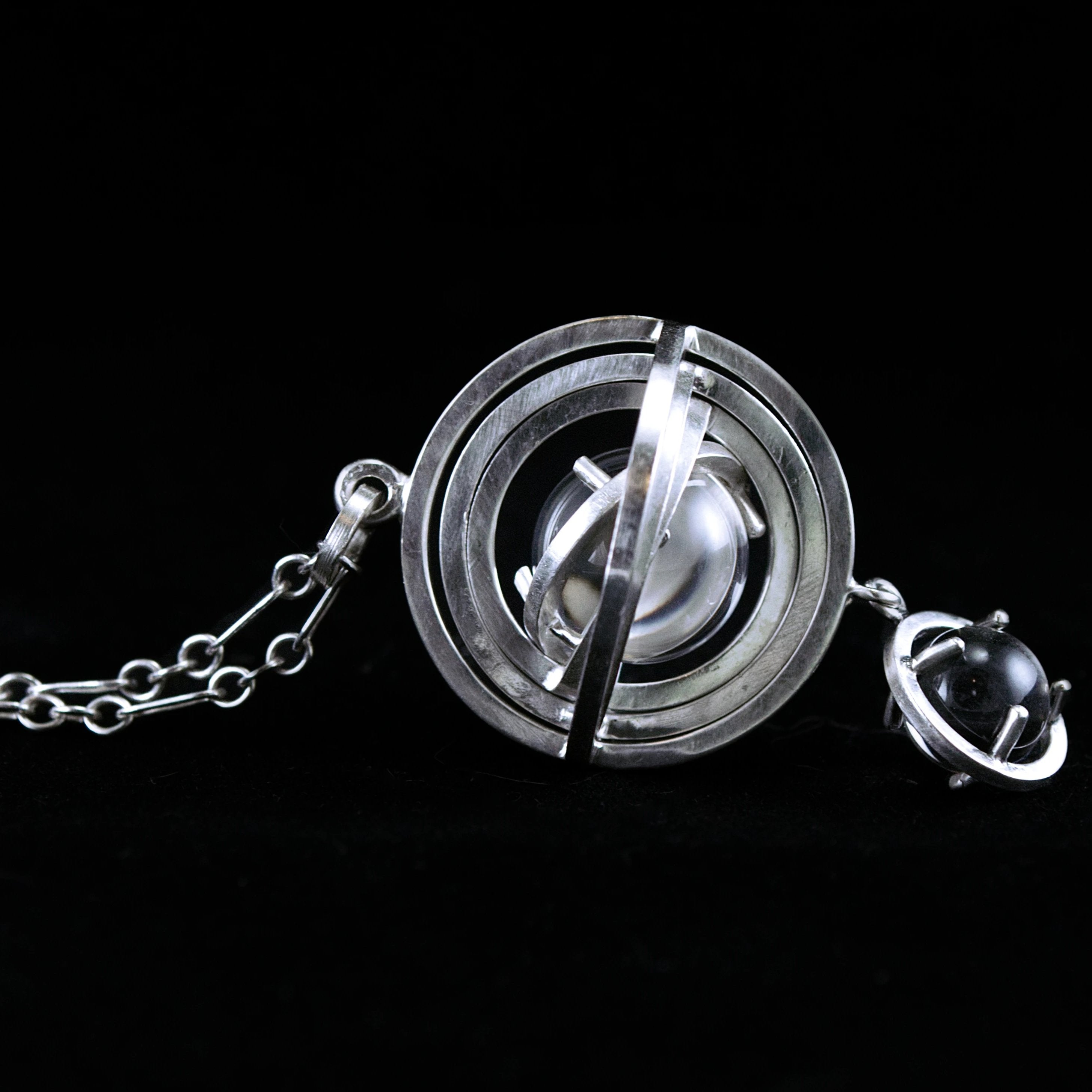 Armillary Sphere Pendant with Quartz