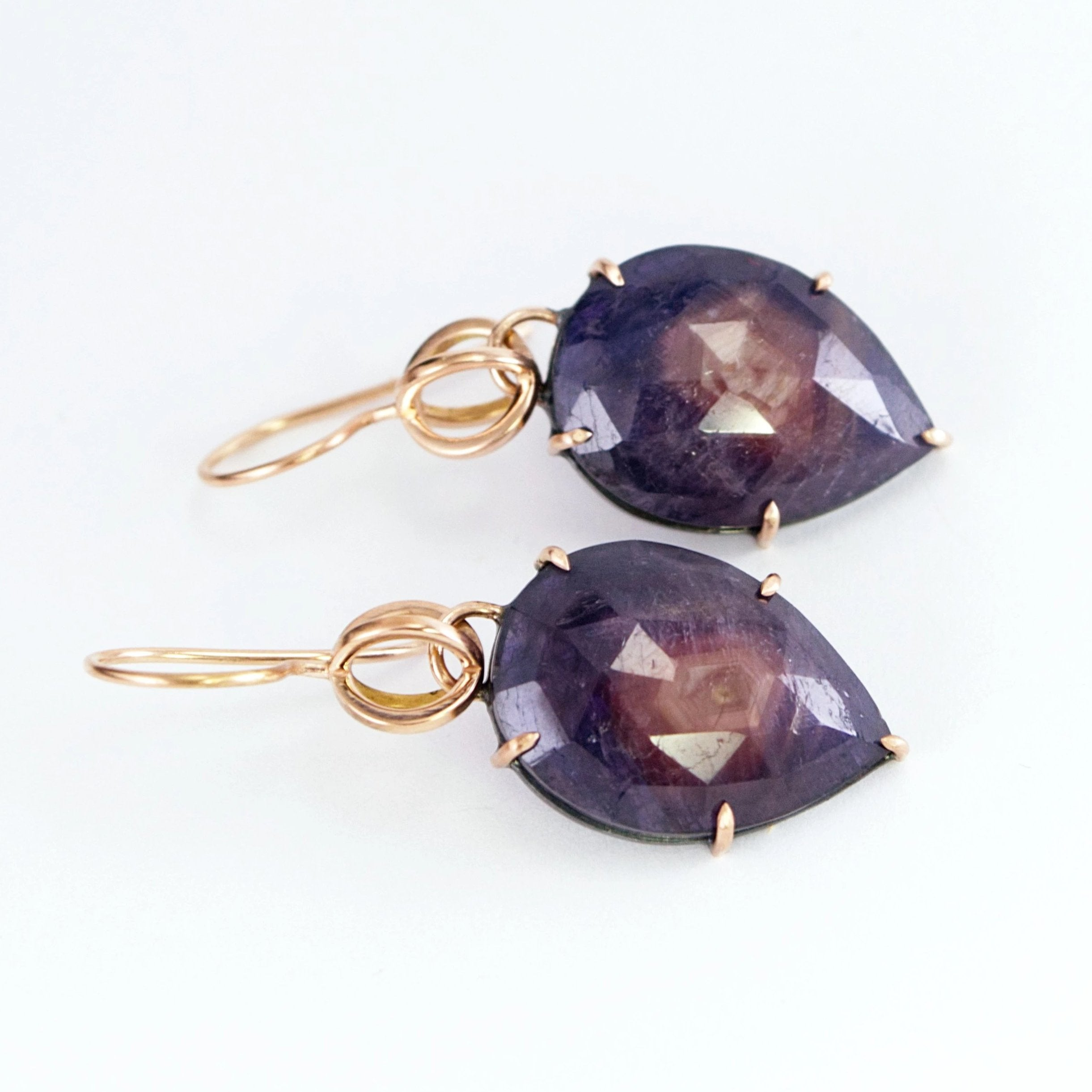 Rose Gold and Sapphire Globe Earrings