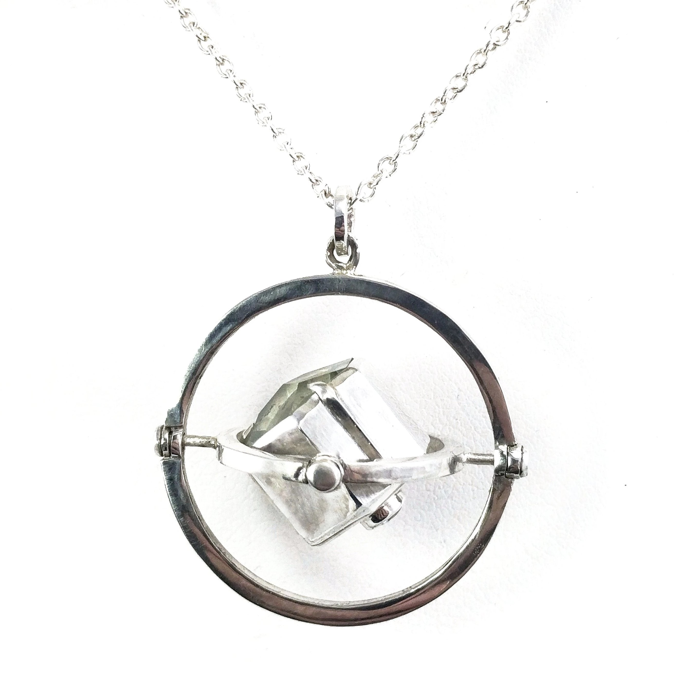 Prasiolite and Gray Spinel Kinetic Armillary