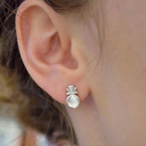 Deco Keystone Quartz Post Earrings