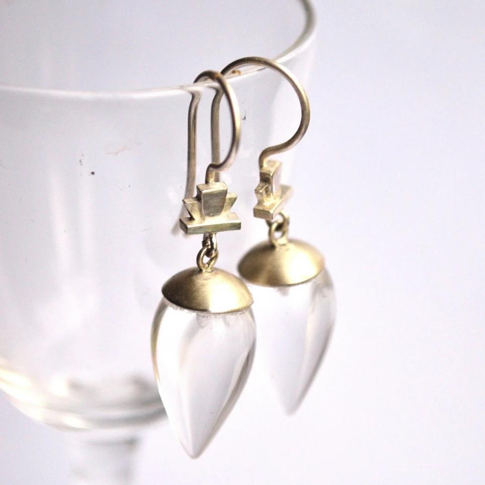 Deco Keystone Quartz Acorn Earrings