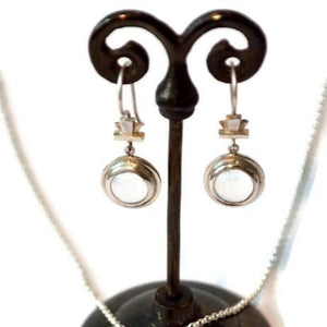 Deco Keystone Quartz Sphere Earrings