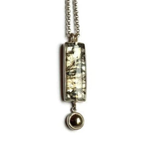 rectangle dendritic quartz pyrite pendant