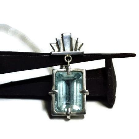 art deco aquamarine pendant