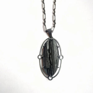 Black Tourmaline Art Deco Statement Necklace
