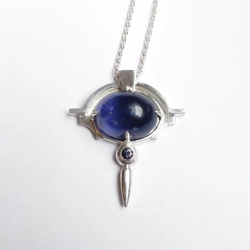 iolite and purple spinel architectural pendant