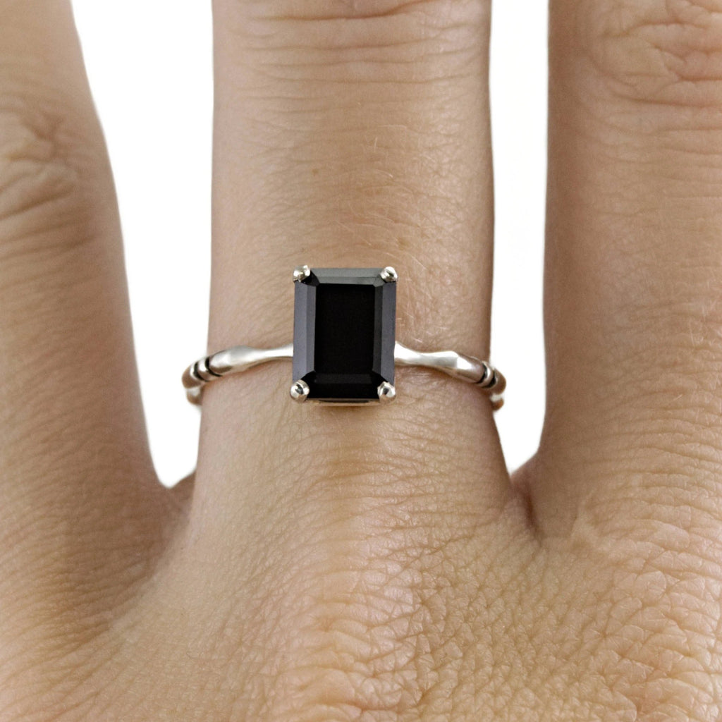 Memento Mori Black Spinel Engagement Ring