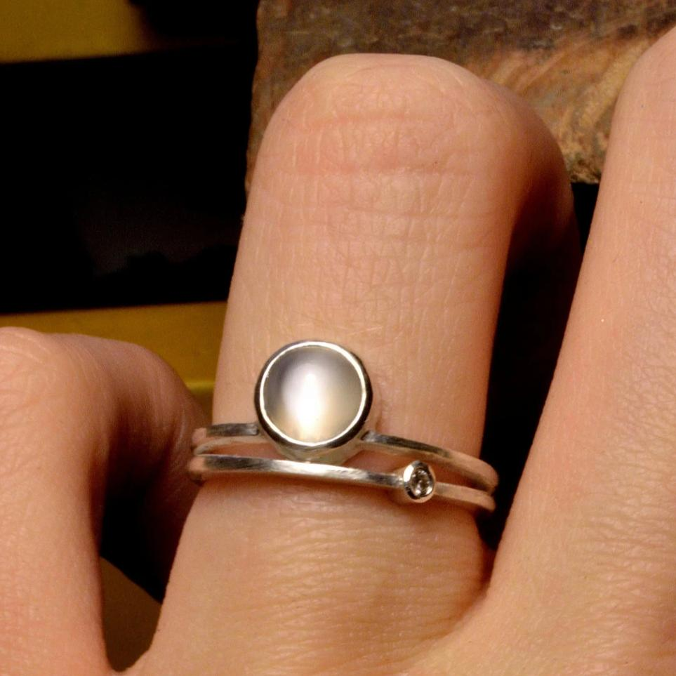 Cat's-eye Moonstone and Diamond Ring