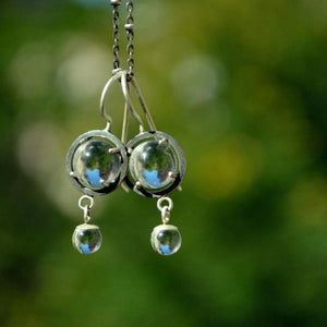 Caged Sphere Quartz Dangle Earrings