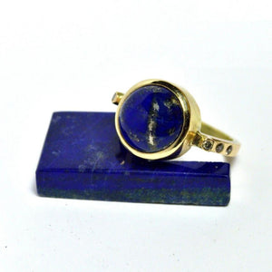 lapis and diamond gold ring