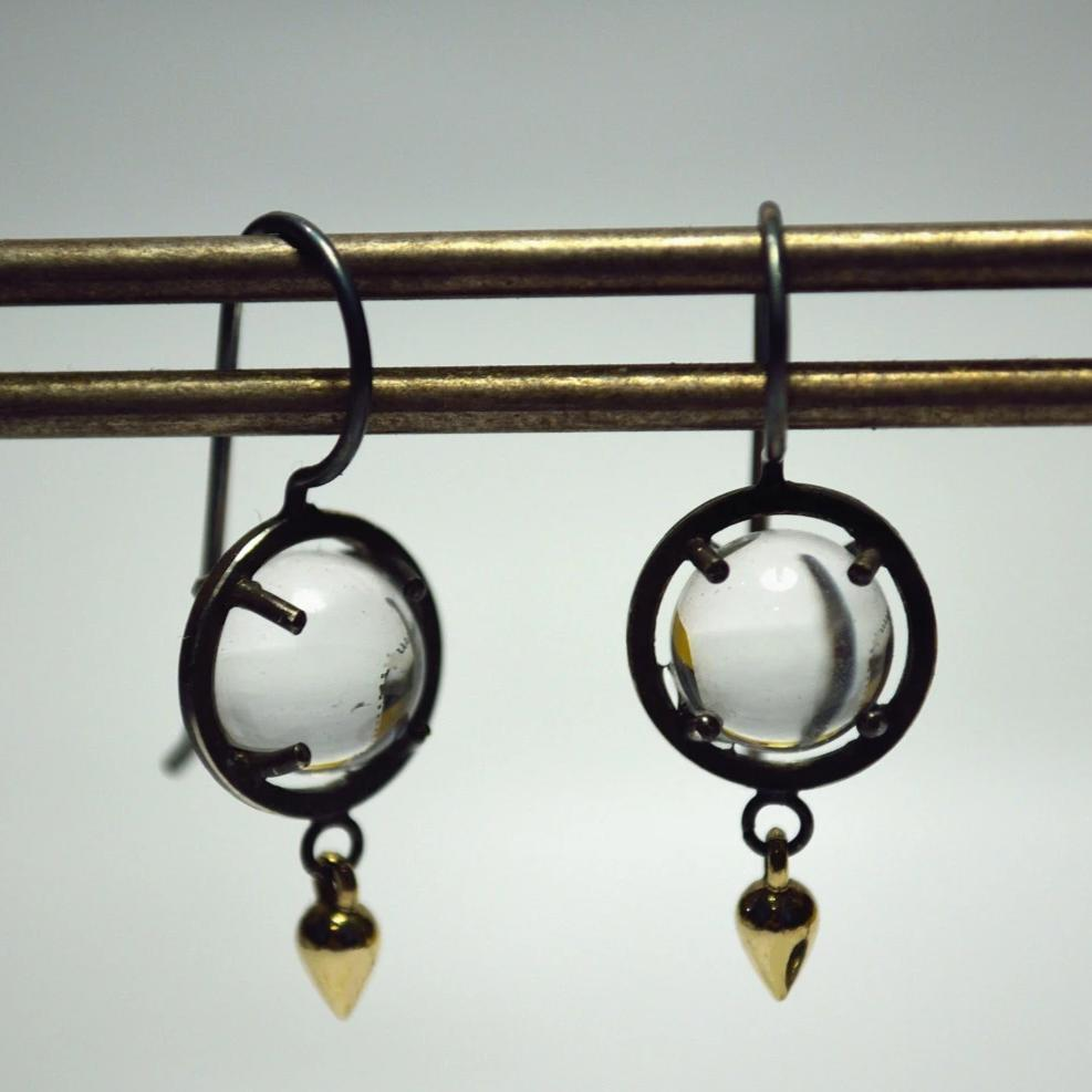 Mix Metal Caged Quartz Earrings - Sterling and 14k