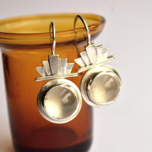 Deco Keystone Quartz Earrings