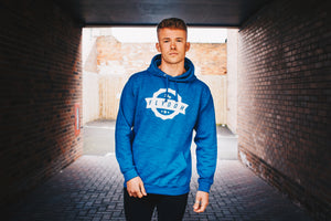 Flydoh Blue / White Leather Print Hoodie - FLYDOH