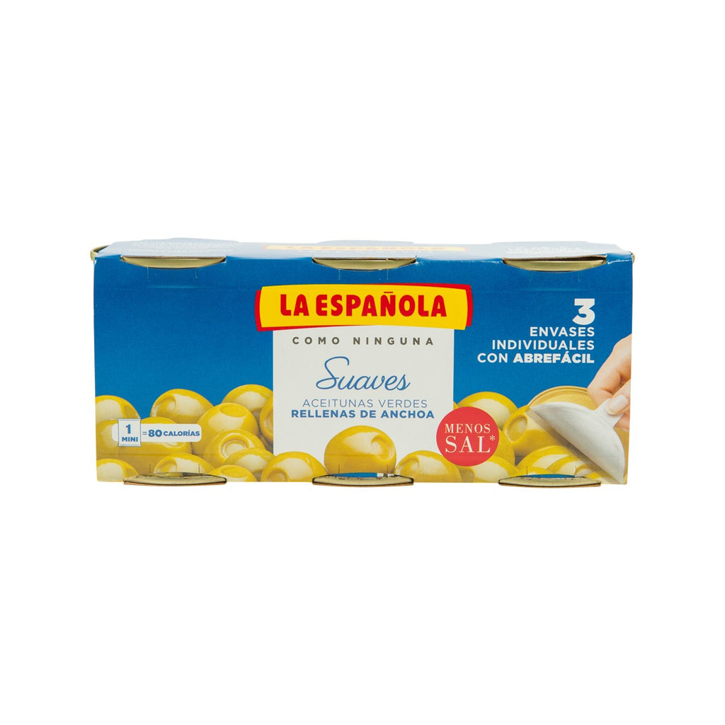 LA ESPANOLA Spanish Olives Stuffed with Anchovies - 35% Less Salt  (150g)