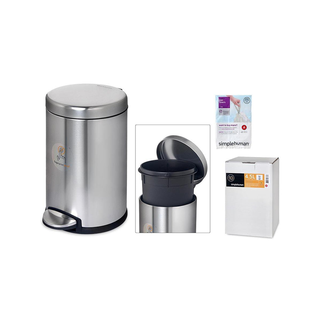 SIMPLEHUMAN Deluxe Stainless Steel Can With Step 4.5L