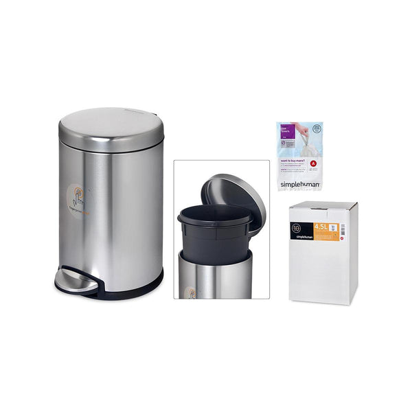 SIMPLE HUMAN Deluxe Stainless Steel Can With Step 4.5L