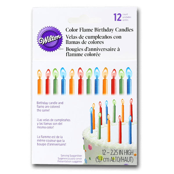 WILTON Color Flame Candles  (12pcs)